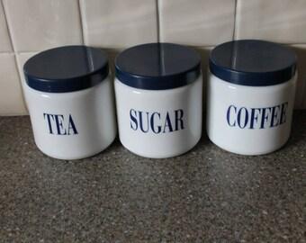 Retro 80s Tea Coffee Canisters Sugar