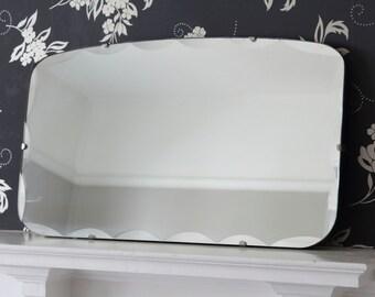 Vintage scalloped edge frameless mirror