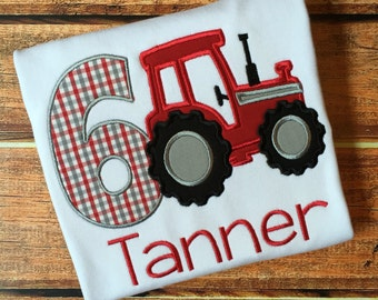 Tractor Birthday Shirt- Red and Plaid Tractor Birthday Shirt - Farm Birthday Shirt - Farm Theme Birthday Onesie or Shirt - Farm Party
