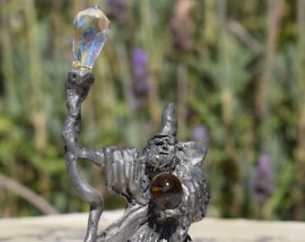 Ballena Bay Pewter 1985 Crystal Ball Wizard Fantasy Figurine