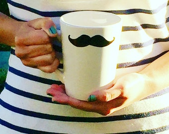 Personalized Hand Painted Ceramic Black Mustache Mug. Black and White Tea or Coffee Cup.