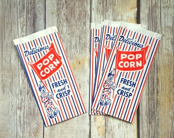 12 Vintage Style Popcorn Bags, Carnival Inspired, Circus Inspired. Food Bag, Party Bag