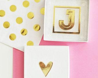 Monogram Coasters - Glass Coasters - Monogram Gifts - Metallic Coasters (EB3146)