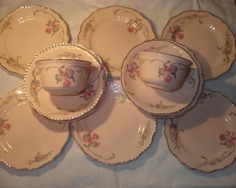 Steubenville Rose Dawn Dessert Cake Plates and Cups and Saucers