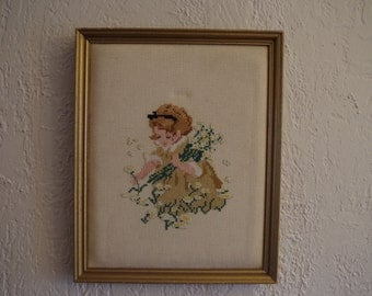 Vintage Framed Cross Stitch Girl Picking Flowers
