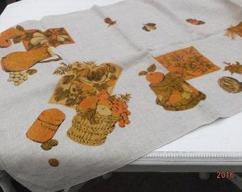 Retro modern kitchen motif tablecloth~rust & orange kitchenware fruit Flax linen~Sale!