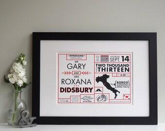 Typographic wedding print