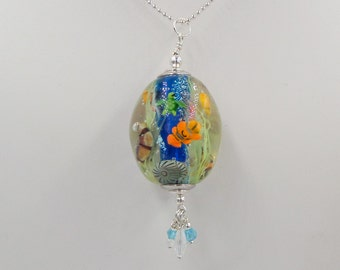 Mermaid Jewelry Underwater Aquarium Bead full of Salt water fish, Starfish, even a green Sea Turtle