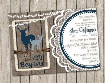 Deer Baby Shower Invitation, Rustic Wood, Hunting Baby Shower, Navy Baby Boy Invitation