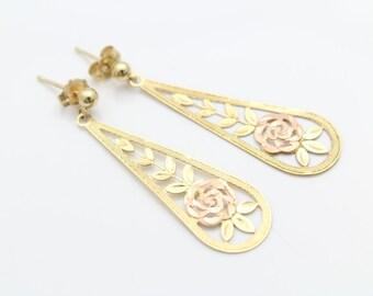 Vintage 14K Yellow and Rose Gold Openwork Rose Teardrop Dangle Earrings. [6619]
