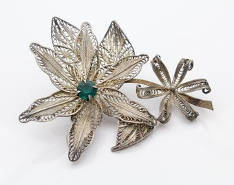 Large Flower Brooch Vintage STERLING SILVER Filigree w Green Crystal. [6853]