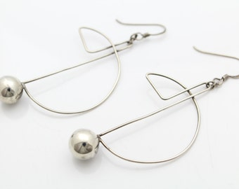 Abstract Modern Design Dangle Earrings in Sterling Silver. [7487]