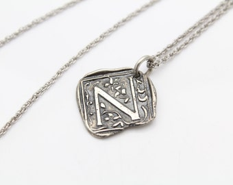 """Handcrafted """"N"""" Initial Square Pendant on 18"""" Chain in Sterling Silver. [10112]"""