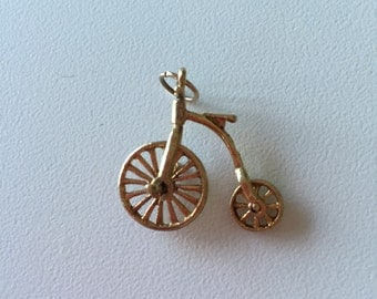 Vintage 9k gold Penny Farthing Bicycle charm, moving wheels, bicycle charm, penny farthing bike charm, 9k gold bicycle charm