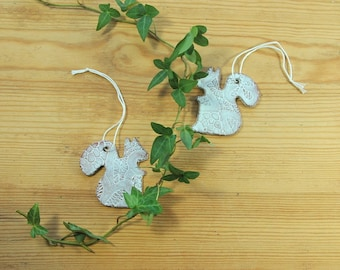 SALE! Ceramic squirrel ornaments- set of two, medium sized squirrels with lace pattern.