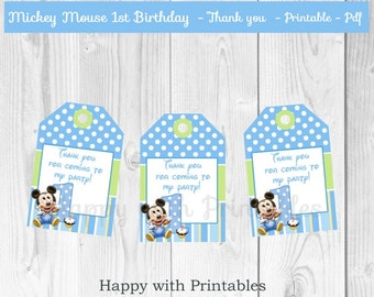 Mickey Mouse 1st bday Thank you tags - Mickey Mouse Tags - 1st bday Thank you - Mickey Mouse party - Mickey Mouse 1st birthday cake toppers