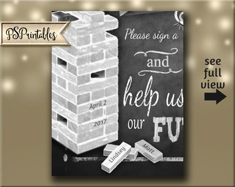 PERSONALIZED Wedding sign a block wedding signage in a chalkboard style - DIY Printable - Rustic Collection