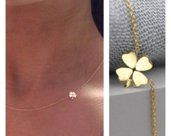 14k solid gold four leaf clover necklace shamrock necklace lucky charm necklace