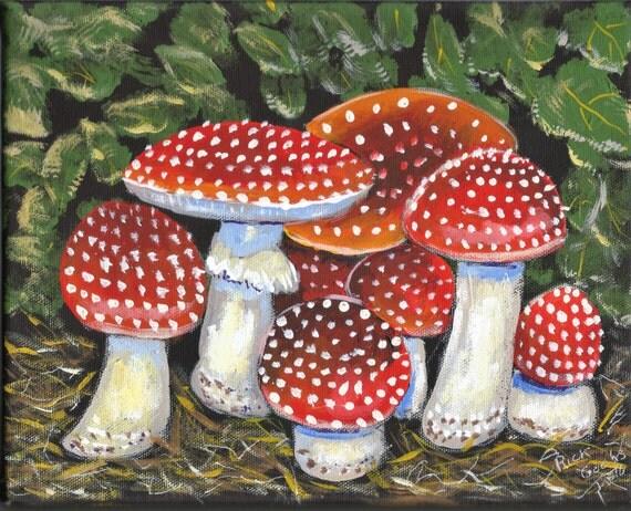 Anamita Muscaria Original Acrylic Painting Mushroom