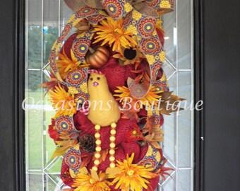 Burlap Fall Wreath, Burlap Decoration, Fall, Door Hanger, Wreath For Door, Ready To Ship