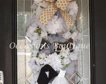 Burlap Wedding Wreath- Bridal Shower Wreath- Bridal Shower Decoration- Wedding Decoration- Burlap Decoration- Made to Order