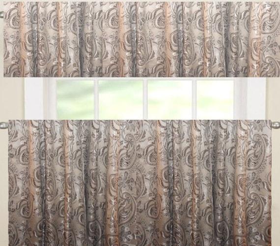 cafe curtains valance paisley jacquard custom made