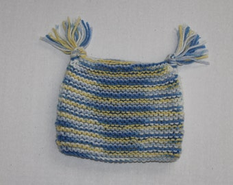 0 to 3 Month Knitted Baby Jester Hat in Blue and Yellow Ombre Yarn, Newborn Hat,