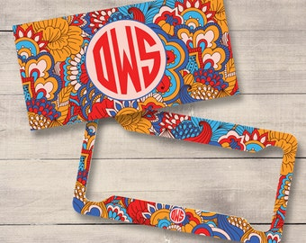 Blue and Orange Retro Floral Car Tags, Monogram License Plate and Frame, Personalized for Teenage Girls, , Monogram Car Tag (0025)