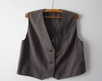 Extra Large Women's Vest Brown Grey  Grandmother Waistcoat Everyday Vest