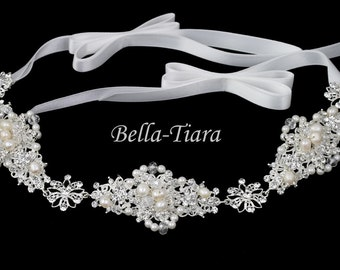 crystal pearl wedding headband, wedding headpiece, wedding bridal hair vine, bridal ivory ribbon headband, crystal pearl wedding headband