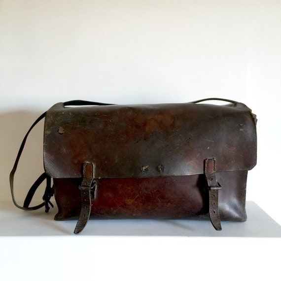 Leather Wine Carrier >> French Antique Leather Bag French Electrician's Bag