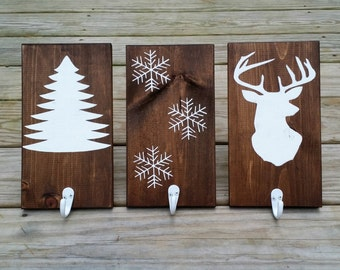 Rustic Wooden Christmas Stocking Holders, Rustic Stocking Hangers, Wooden Christmas Signs, Rustic Coat Hanger, Set of 3
