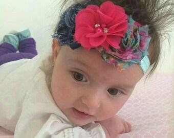 Hot Pink Baby Headband,  Photo Prop Headband, Denim Baby Headband, Floral Rosette Headband,  Valentine's Day Bows, Rosette Headband