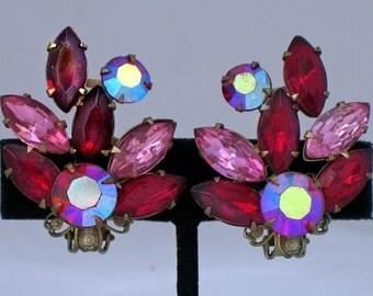 Vtg Beau Jewels Earrings Clipback Dark Red/Pink Rhinestones Aurora Borealis