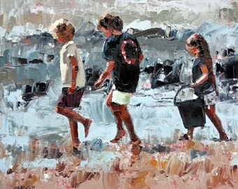 Giclee, original art print, of my, impressionist oil, modern painting, perfect art decor, for a, beach house, 'Collecting Pippies III'.