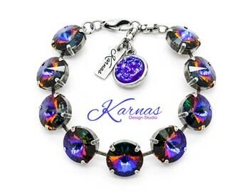 CRYSTAL VOLCANO 14mm Rivoli Bracelet Made With Swarovski Elements *Rhodium or Antique Silver *Karnas Design Studio *Free Shipping