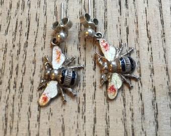 Sterling silver enamel Bee earrings