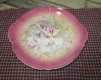 """Vintage Mehlem Pansy Iris Pink Pastel Purple Plate Beautiful Antique Piece Franz Anton Royal Bonn 10"""""""