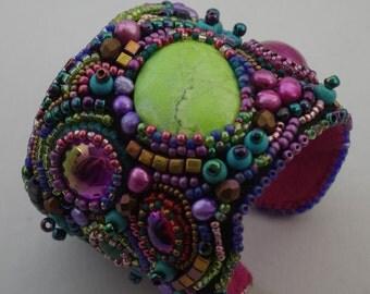 KALEIDOSCOPE CUFF, beaded cuff, bead embroidery jewelry, cuff, the sage wreath, unique, gems, Persephone Design original jewelry