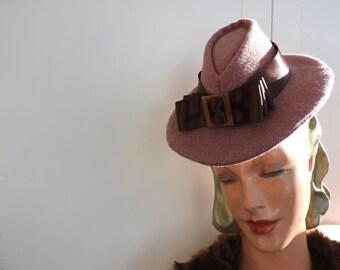 1940'S replica Dusky Pink Tilt Hat