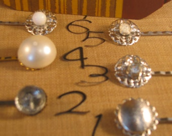 vintage button bobby pin  joy jewelry,karen hudson