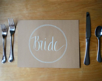 50 Rustic Calligraphy Kraft Wedding Table Place Mat - Table Setting - Table Decor - Personalized Placecard
