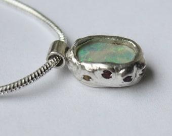 Lightning Ridge Opal and Sapphire Pendant