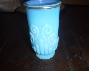 blue Avon vasaline glass vase