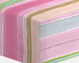 Girl Baby Bedding : Primrose Stripe Crib Sheet by Carousel Designs