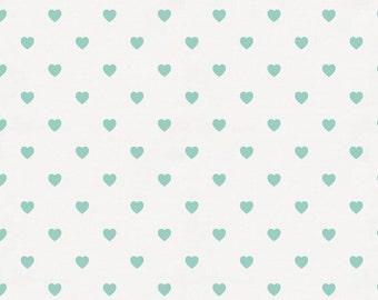 Mint Hearts Organic Fabric - By The Yard - Girl / Boy / Neutral
