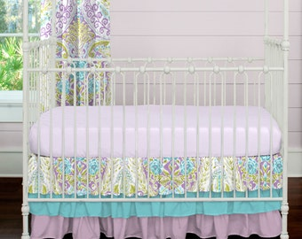 Girl Baby Crib Bedding: Aqua and Purple Jasmine 2-Piece Crib Bedding Set by Carousel Designs