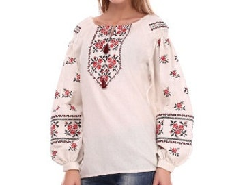 FREE SHIPPING! Embroidered white blouse Size xl