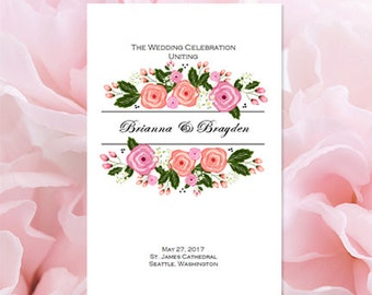 Catholic Wedding Order Of Service Floral Bliss Printable Ceremony Program Make Your Own