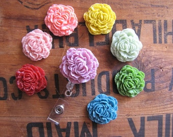 Flower Badge Reel, Peony Badge Clip, Retractable Name Badge, ID Holder, Nurse Gift, Doctor, Teacher ID Clip, Resin Flower, Belt Clip Badge
